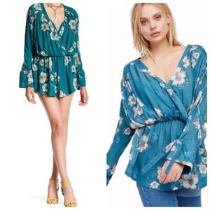 Free People Tuscan Dreams Tunic Dress.Turquoise